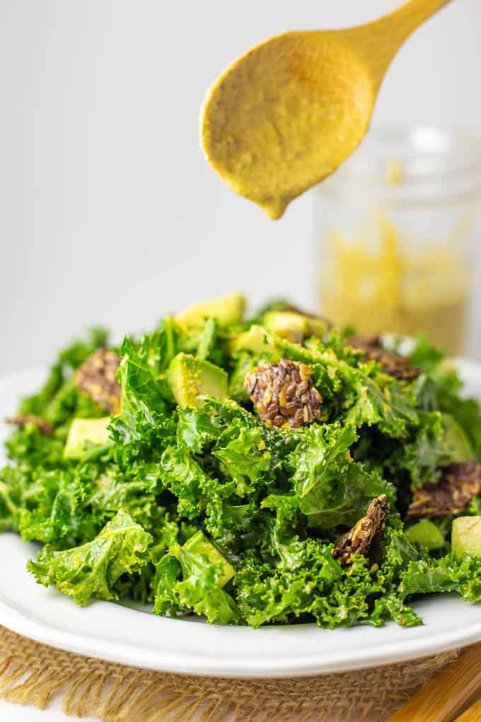 Easy to make Vegan Keto Kale Caesar Salad is packed with nutrition and flavor