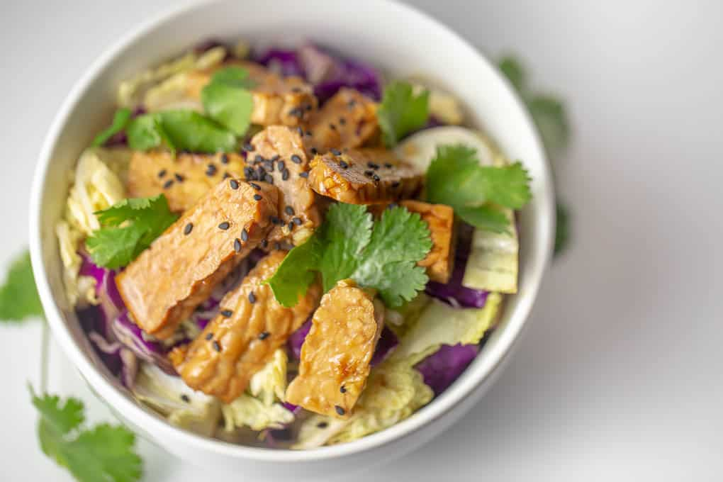 This raw vegan tempeh salad is low carb and packed wtih antioxidants