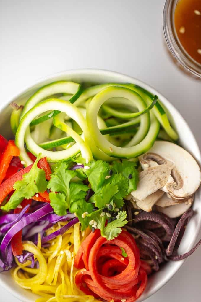 Rainbow Salad with Sesame Ginger Miso Dressing