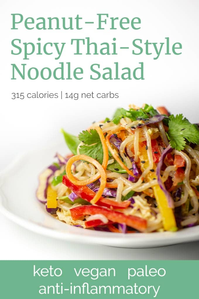 This raw vegan, keto-compliant Thai-style noodle salad is also peanut-free, low carb and low calorie.