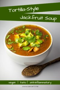 Quick and easy tortilla-style jackfruit soup is vegan, keto, and anti-inflammatory.