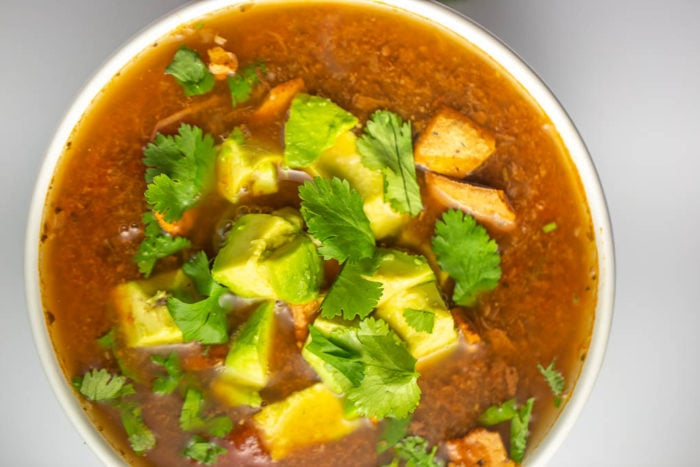 This tortilla-style soup uses jackfruit to keep to vegan and keto-friendly | Soil and Seed diet